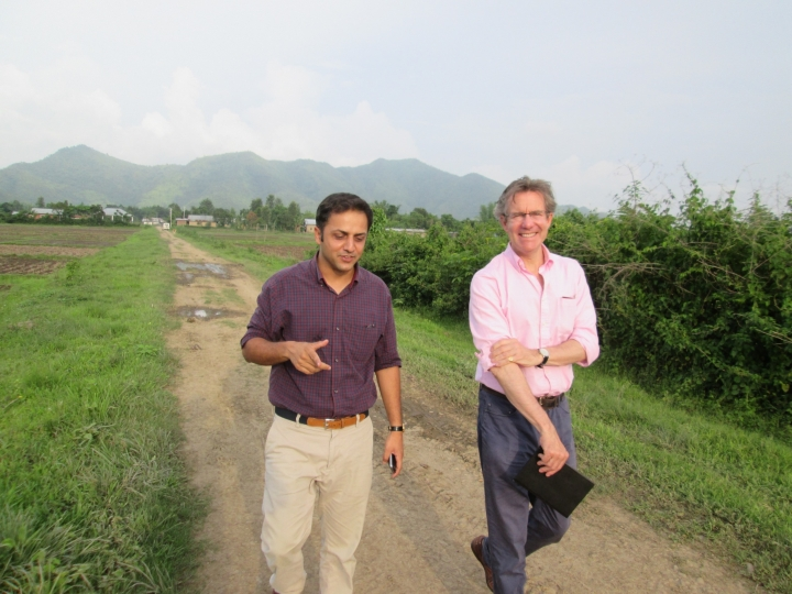Dr. Hugo Slim, the grandson of Field Marshal 'Bill' Slim  of the Fourteenth Army, on tour with Hemant Singh Katoch near Imphal (April 2014).